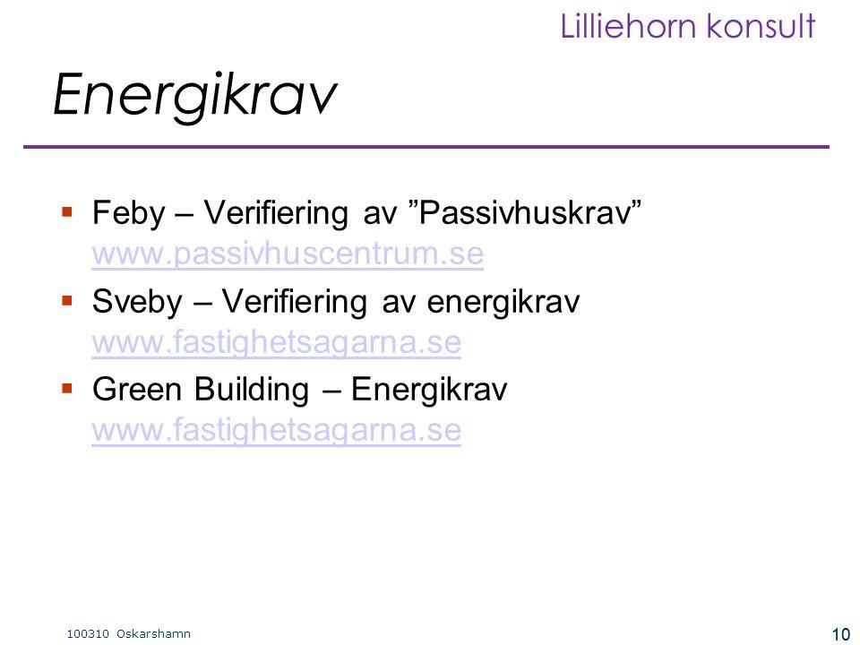 """10 100310 Oskarshamn Lilliehorn konsult 10 Energikrav  Feby – Verifiering av """"Passivhuskrav"""" www.passivhuscentrum.se www.passivhuscentrum.se  Sveby"""