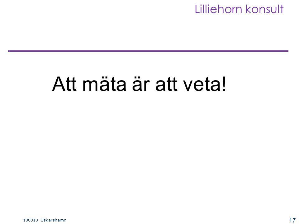 17 100310 Oskarshamn Lilliehorn konsult 17 Att mäta är att veta!