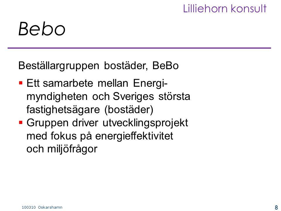 8 100310 Oskarshamn Lilliehorn konsult 8  Ett samarbete mellan Energi- myndigheten och Sveriges största fastighetsägare (bostäder)  Gruppen driver utvecklingsprojekt med fokus på energieffektivitet och miljöfrågor Beställargruppen bostäder, BeBo Bebo