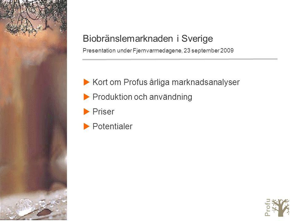 Profu Biobränslemarknaden i Sverige Presentation under Fjernvarmedagene, 23 september 2009  Kort om Profus årliga marknadsanalyser  Produktion och användning  Priser  Potentialer