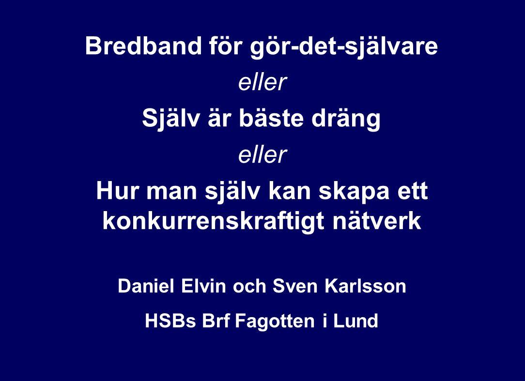 Bredband för gör-det-självare eller Själv är bäste dräng eller Hur man själv kan skapa ett konkurrenskraftigt nätverk Daniel Elvin och Sven Karlsson H