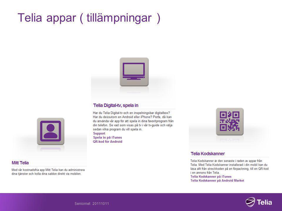 Telia appar ( tillämpningar ) Seniornet 20111011