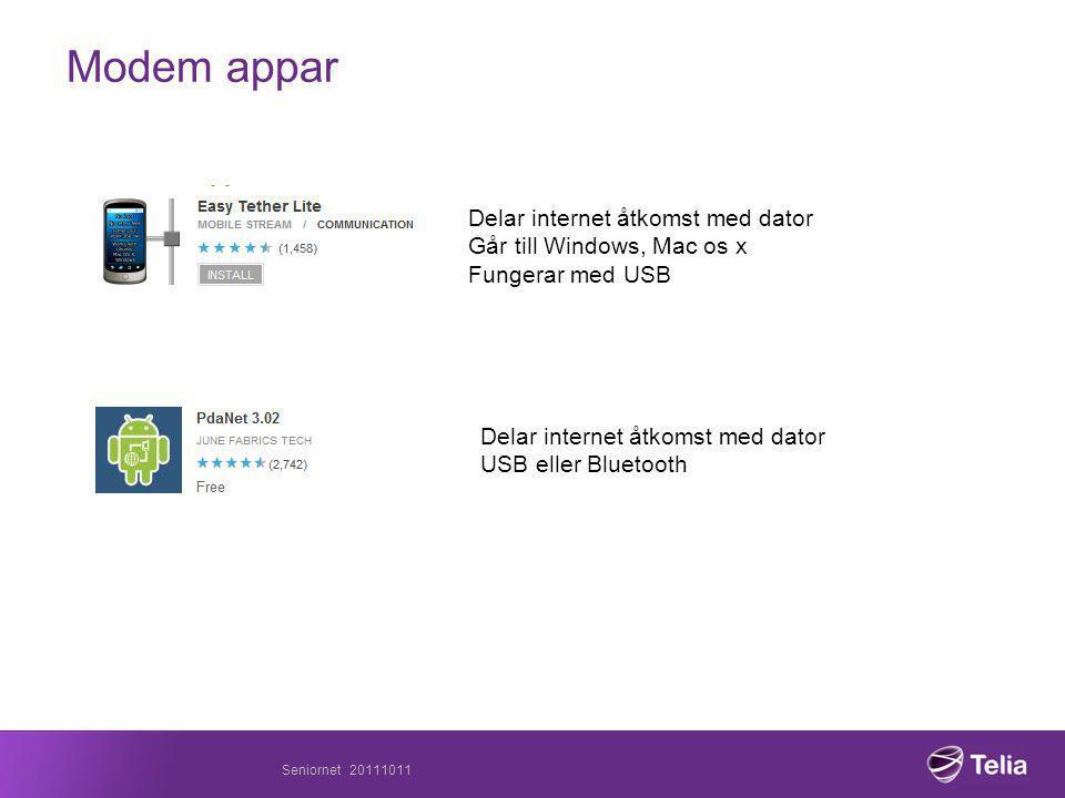 Modem appar Delar internet åtkomst med dator Går till Windows, Mac os x Fungerar med USB Delar internet åtkomst med dator USB eller Bluetooth