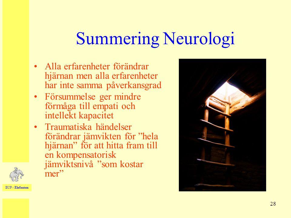 BUP - Elefanten 28 Summering Neurologi •Alla erfarenheter förändrar hjärnan men alla erfarenheter har inte samma påverkansgrad •Försummelse ger mindre