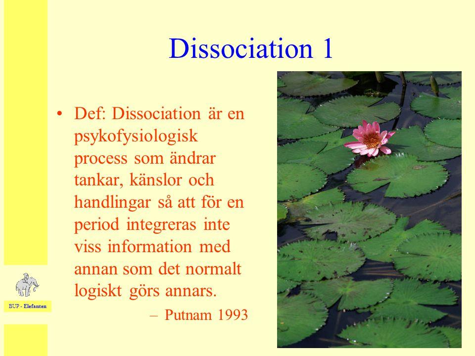 BUP - Elefanten 33 Dissociation 1 •Def: Dissociation är en psykofysiologisk process som ändrar tankar, känslor och handlingar så att för en period int