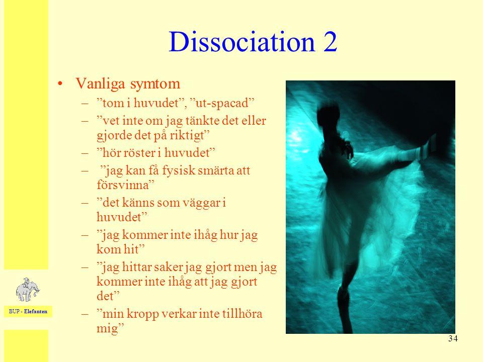 """BUP - Elefanten 34 Dissociation 2 •Vanliga symtom –""""tom i huvudet"""", """"ut-spacad"""" –""""vet inte om jag tänkte det eller gjorde det på riktigt"""" –""""hör röster"""