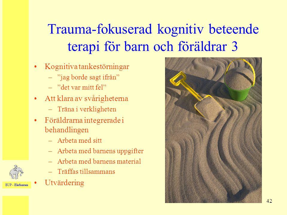 """BUP - Elefanten 42 Trauma-fokuserad kognitiv beteende terapi för barn och föräldrar 3 •Kognitiva tankestörningar –""""jag borde sagt ifrån"""" –""""det var mit"""