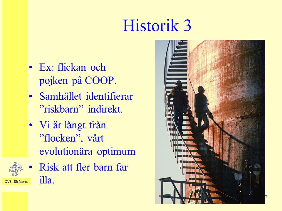 """BUP - Elefanten 7 Historik 3 •Ex: flickan och pojken på COOP. •Samhället identifierar """"riskbarn"""" indirekt. •Vi är långt från """"flocken"""", vårt evolution"""