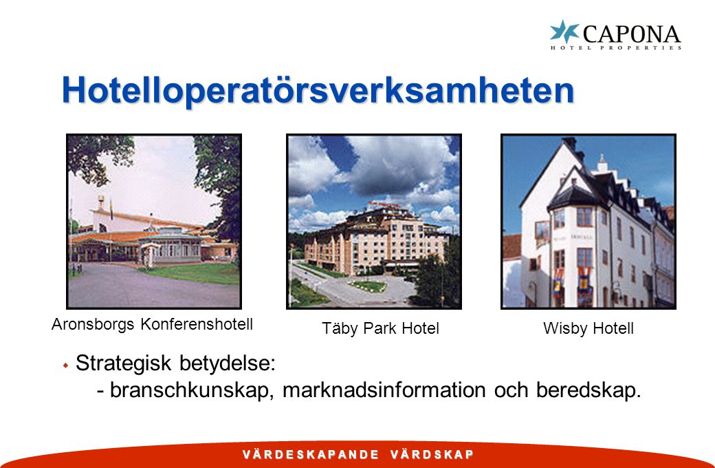 V Ä R D E S K A P A N D E V Ä R D S K A P Hotelloperatörsverksamheten w Strategisk betydelse: - branschkunskap, marknadsinformation och beredskap.