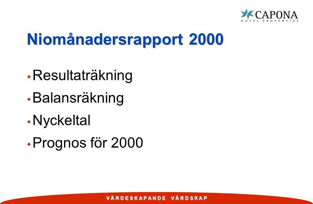 V Ä R D E S K A P A N D E V Ä R D S K A P Niomånadersrapport 2000 w Resultaträkning w Balansräkning w Nyckeltal w Prognos för 2000