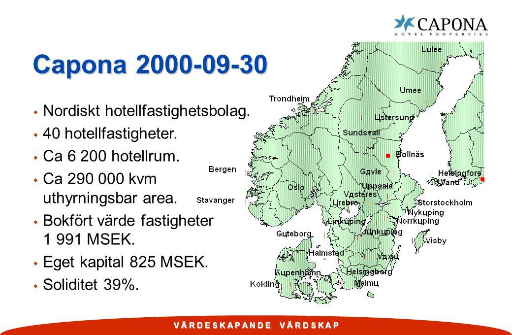 V Ä R D E S K A P A N D E V Ä R D S K A P Capona 2000-09-30 w Nordiskt hotellfastighetsbolag. w 40 hotellfastigheter. w Ca 6 200 hotellrum. w Ca 290 0
