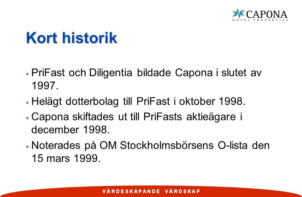 V Ä R D E S K A P A N D E V Ä R D S K A P Kort historik w PriFast och Diligentia bildade Capona i slutet av 1997. w Helägt dotterbolag till PriFast i