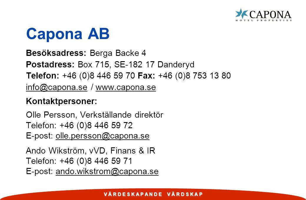 Capona AB Besöksadress: Berga Backe 4 Postadress: Box 715, SE-182 17 Danderyd Telefon: +46 (0)8 446 59 70 Fax: +46 (0)8 753 13 80 info@capona.se / www.capona.se Kontaktpersoner: Olle Persson, Verkställande direktör Telefon: +46 (0)8 446 59 72 E-post: olle.persson@capona.se Ando Wikström, vVD, Finans & IR Telefon: +46 (0)8 446 59 71 E-post: ando.wikstrom@capona.se