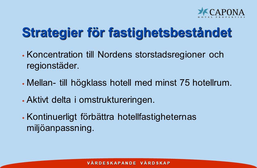 V Ä R D E S K A P A N D E V Ä R D S K A P Strategier för fastighetsbeståndet w Koncentration till Nordens storstadsregioner och regionstäder. w Mellan