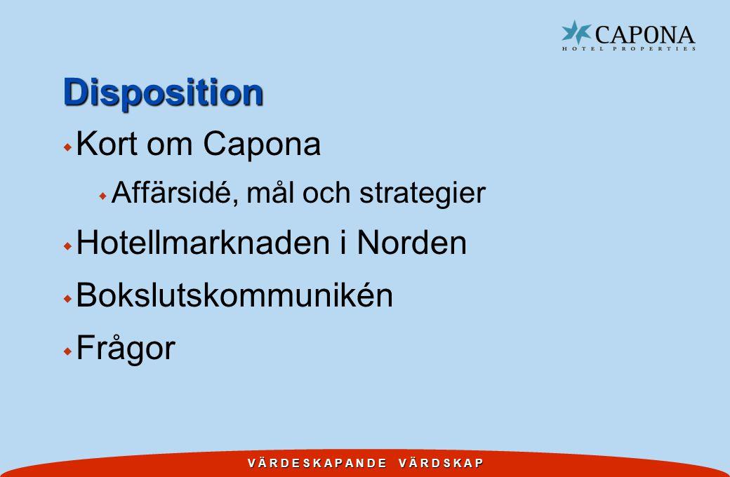 V Ä R D E S K A P A N D E V Ä R D S K A P Disposition w Kort om Capona w Affärsidé, mål och strategier w Hotellmarknaden i Norden w Bokslutskommunikén w Frågor