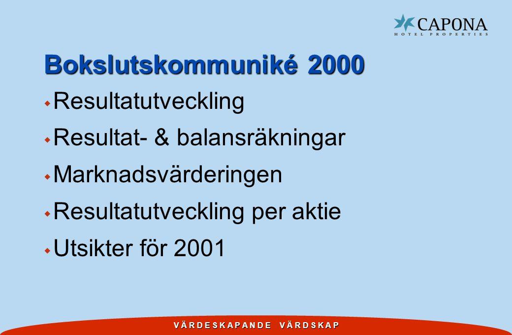 V Ä R D E S K A P A N D E V Ä R D S K A P Bokslutskommuniké 2000 w Resultatutveckling w Resultat- & balansräkningar w Marknadsvärderingen w Resultatutveckling per aktie w Utsikter för 2001