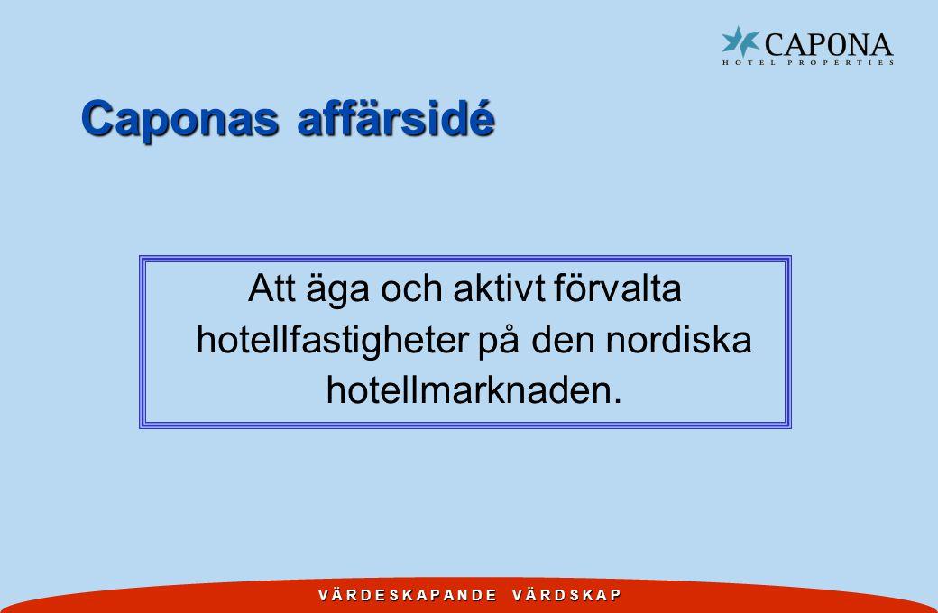 Caponas affärsidé Att äga och aktivt förvalta hotellfastigheter på den nordiska hotellmarknaden.