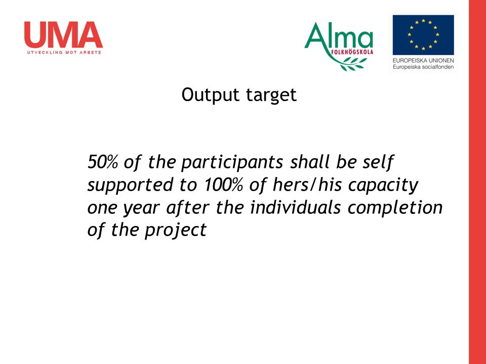 Output target 50% of the participants shall be self supported to 100% of hers/his capacity one year after the individuals completion of the project
