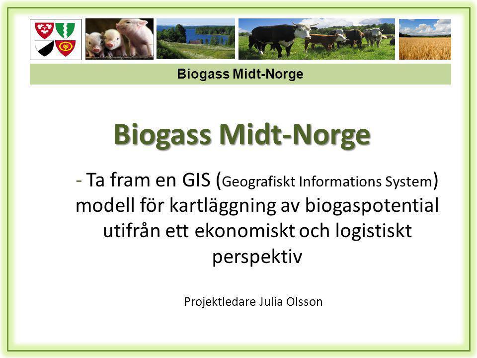 Biogass Midt-Norge Projektledare Julia Olsson - Ta fram en GIS ( Geografiskt Informations System ) modell för kartläggning av biogaspotential utifrån ett ekonomiskt och logistiskt perspektiv Biogass Midt-Norge