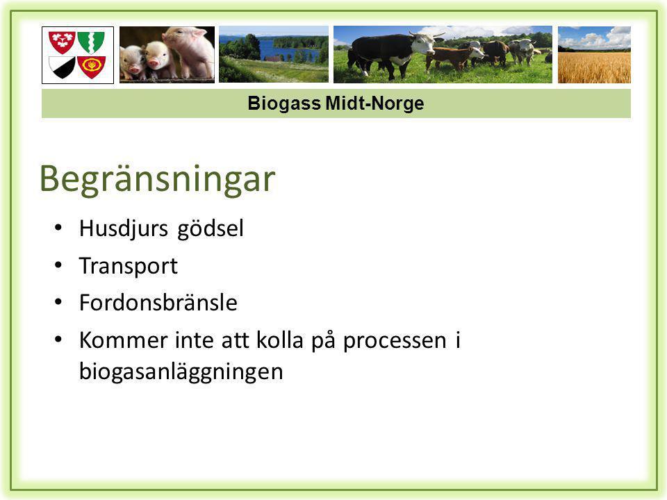 Begränsningar • Husdjurs gödsel • Transport • Fordonsbränsle • Kommer inte att kolla på processen i biogasanläggningen Biogass Midt-Norge
