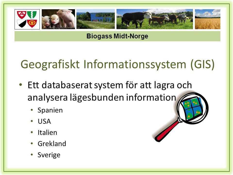 • Ett databaserat system för att lagra och analysera lägesbunden information • Spanien • USA • Italien • Grekland • Sverige Geografiskt Informationssystem (GIS) Biogass Midt-Norge