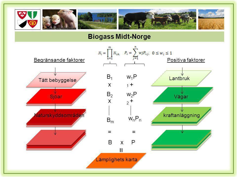 Lantbruk Vägar kraftanläggning Positiva faktorer Tätt bebyggelse Sjöar Naturskyddsområden Begränsande faktorer Lämplighets karta w1P1w1P1 + w2P2w2P2 + wnPnwnPn = Px = B1B1 x B2B2 x BmBm = B