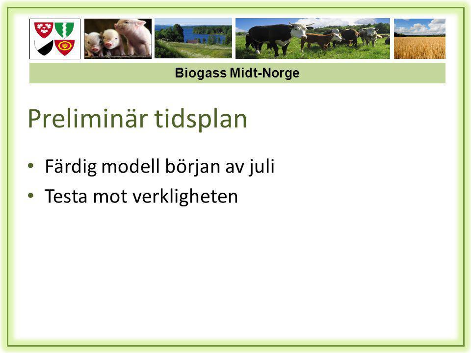 Preliminär tidsplan • Färdig modell början av juli • Testa mot verkligheten Biogass Midt-Norge