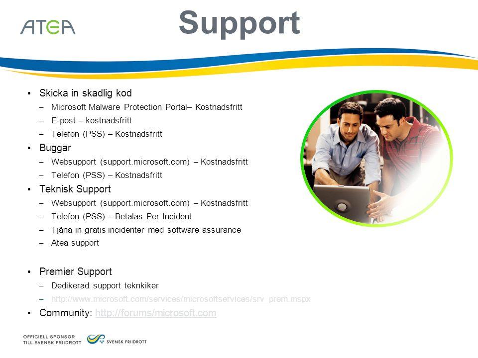 Support • Skicka in skadlig kod – Microsoft Malware Protection Portal– Kostnadsfritt – E-post – kostnadsfritt – Telefon (PSS) – Kostnadsfritt • Buggar – Websupport (support.microsoft.com) – Kostnadsfritt – Telefon (PSS) – Kostnadsfritt • Teknisk Support – Websupport (support.microsoft.com) – Kostnadsfritt – Telefon (PSS) – Betalas Per Incident – Tjäna in gratis incidenter med software assurance – Atea support • Premier Support – Dedikerad support teknkiker – http://www.microsoft.com/services/microsoftservices/srv_prem.mspx http://www.microsoft.com/services/microsoftservices/srv_prem.mspx • Community: http://forums/microsoft.comhttp://forums/microsoft.com
