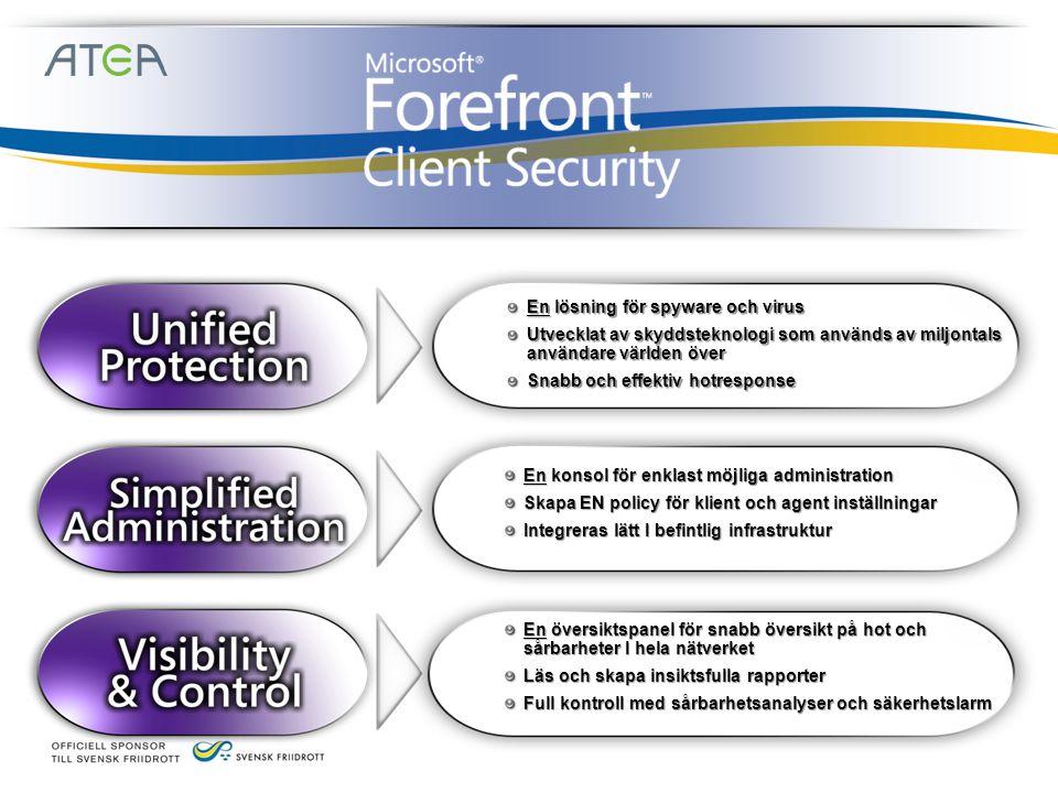 En lösning för spyware och virus Utvecklat av skyddsteknologi som används av miljontals användare världen över Snabb och effektiv hotresponse En konsol för enklast möjliga administration Skapa EN policy för klient och agent inställningar Integreras lätt I befintlig infrastruktur En översiktspanel för snabb översikt på hot och sårbarheter I hela nätverket Läs och skapa insiktsfulla rapporter Full kontroll med sårbarhetsanalyser och säkerhetslarm