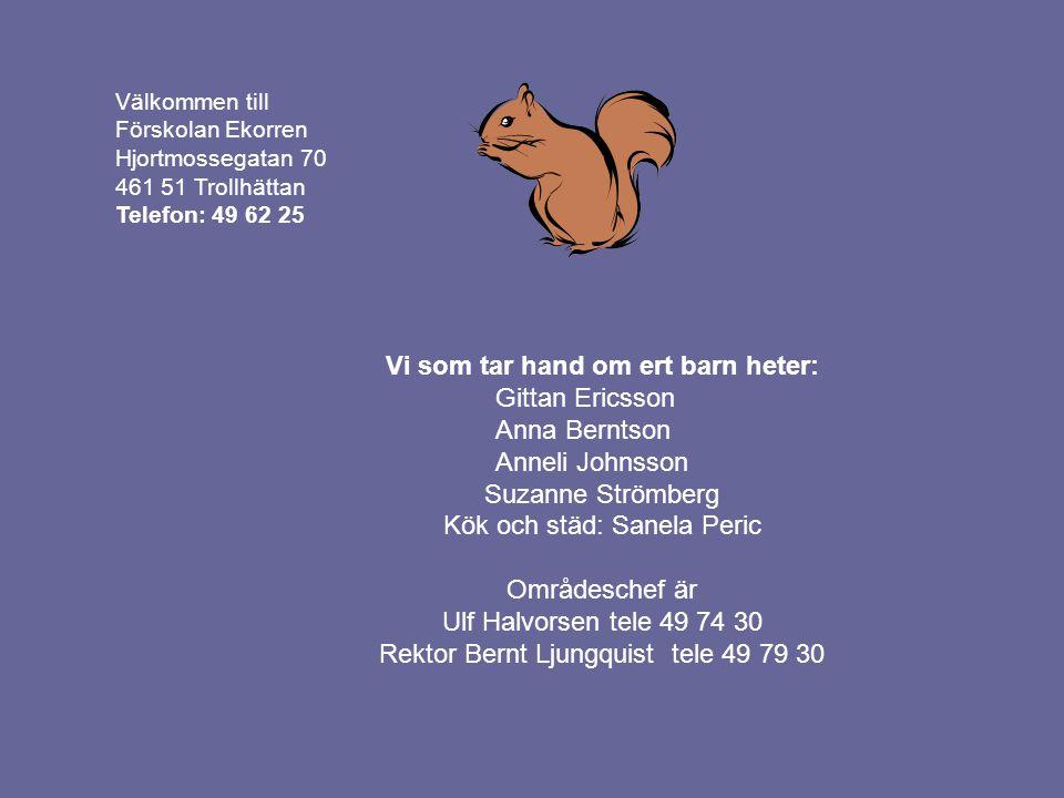 Välkommen till Förskolan Ekorren Hjortmossegatan 70 461 51 Trollhättan Telefon: 49 62 25 Vi som tar hand om ert barn heter: Gittan Ericsson Anna Bernt