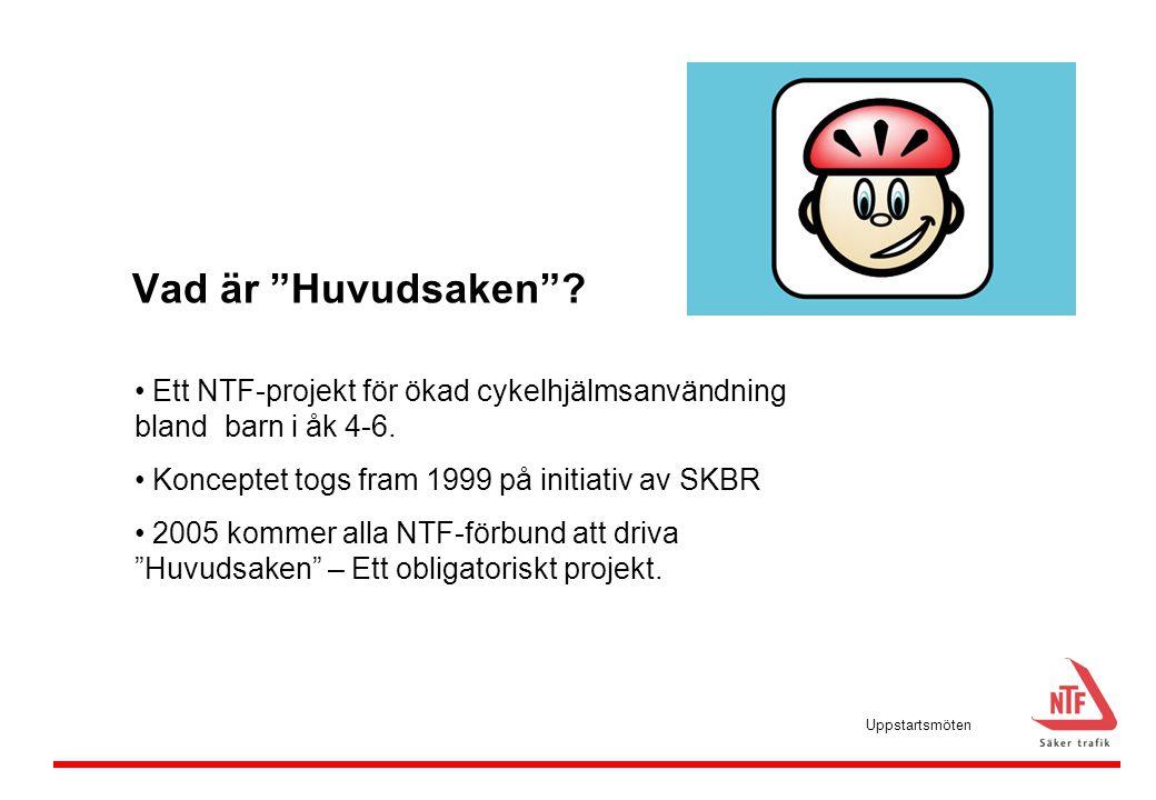 """Vad är """"Huvudsaken""""? • Ett NTF-projekt för ökad cykelhjälmsanvändning bland barn i åk 4-6. • Konceptet togs fram 1999 på initiativ av SKBR • 2005 komm"""