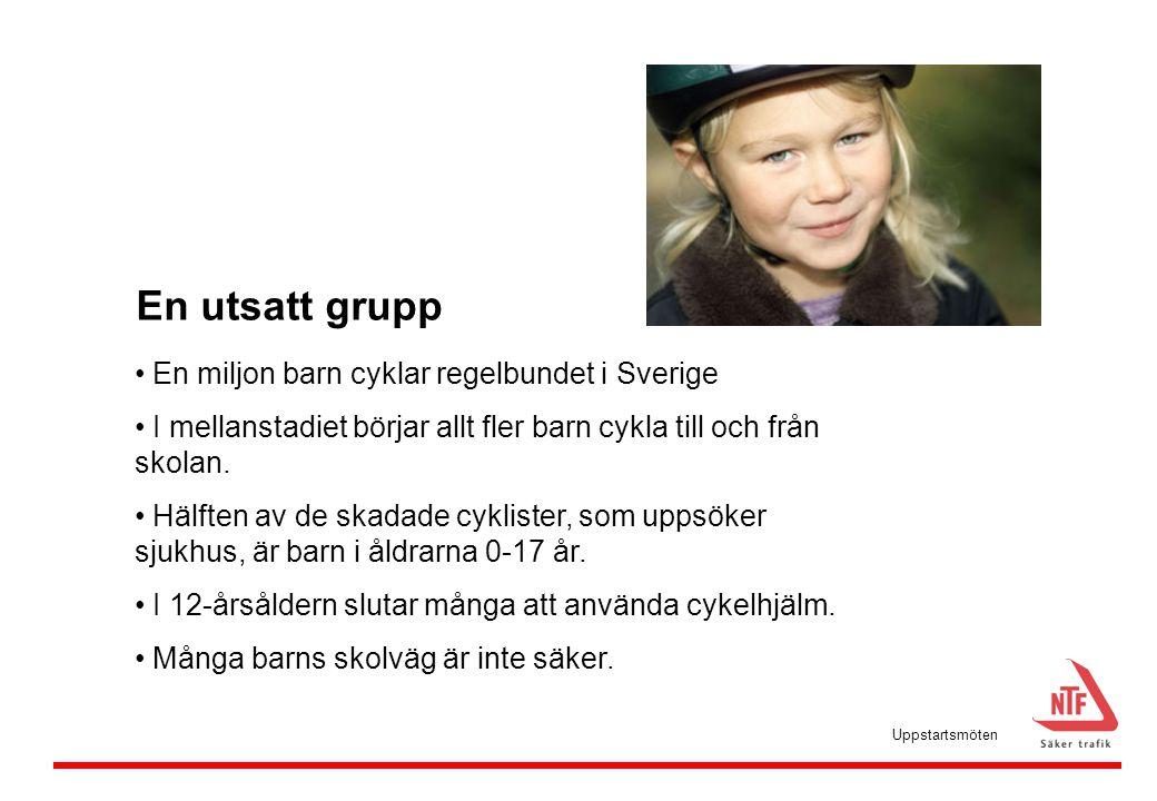 En utsatt grupp • En miljon barn cyklar regelbundet i Sverige • I mellanstadiet börjar allt fler barn cykla till och från skolan. • Hälften av de skad