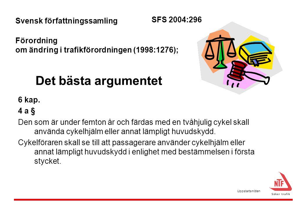 Det bästa argumentet 6 kap. 4 a § Den som är under femton år och färdas med en tvåhjulig cykel skall använda cykelhjälm eller annat lämpligt huvudskyd