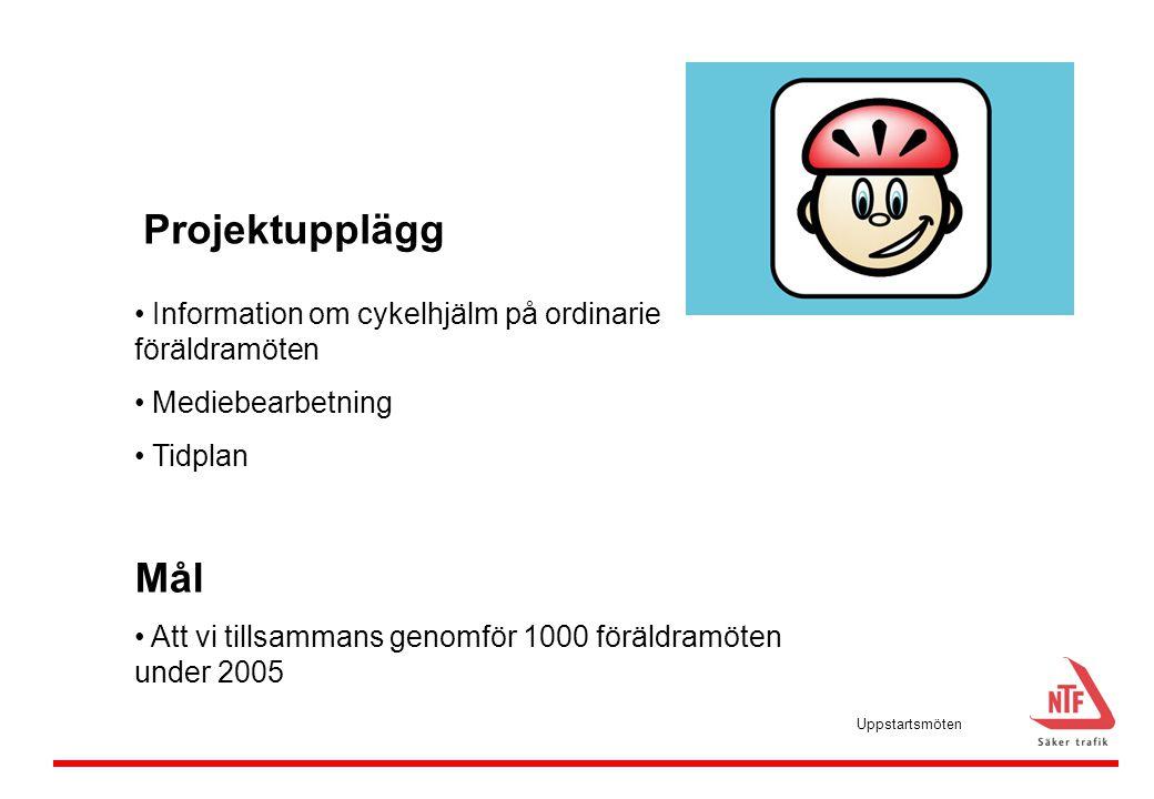 • Information om cykelhjälm på ordinarie föräldramöten • Mediebearbetning • Tidplan Mål • Att vi tillsammans genomför 1000 föräldramöten under 2005 Pr