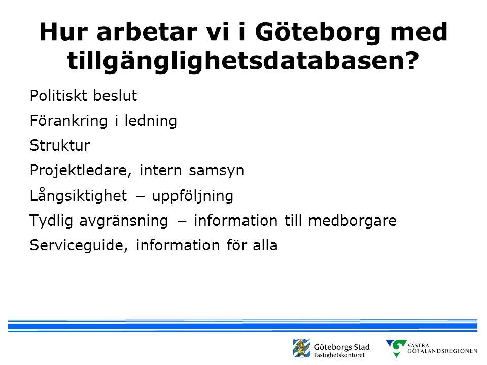 Hur arbetar vi i Göteborg med tillgänglighetsdatabasen? Politiskt beslut Förankring i ledning Struktur Projektledare, intern samsyn Långsiktighet − up