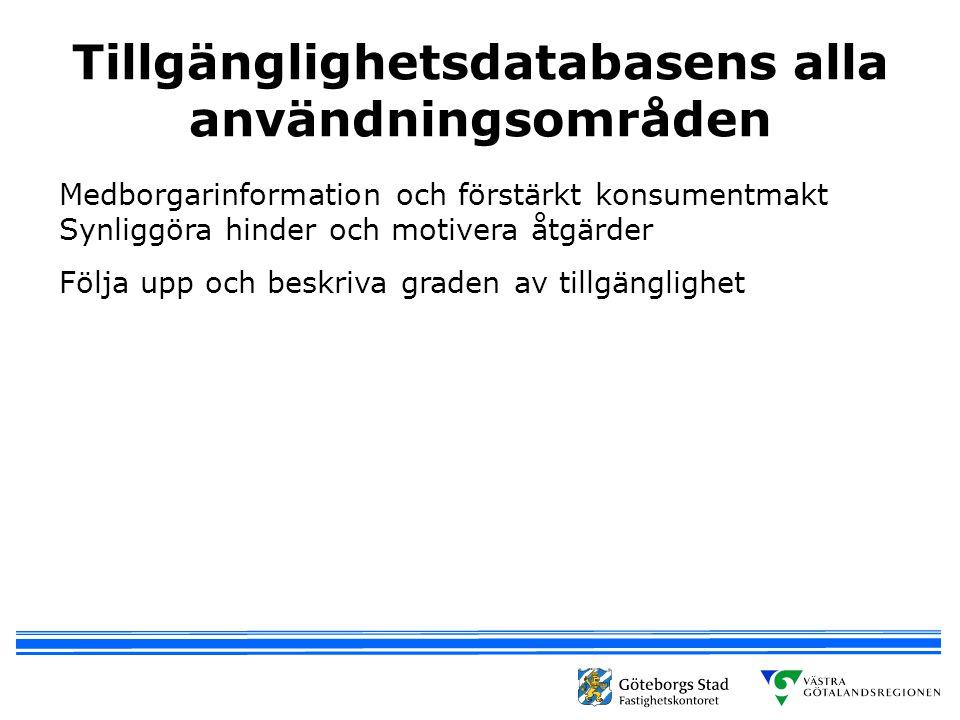 Tillgänglighetsdatabasens alla användningsområden Medborgarinformation och förstärkt konsumentmakt Synliggöra hinder och motivera åtgärder Följa upp och beskriva graden av tillgänglighet