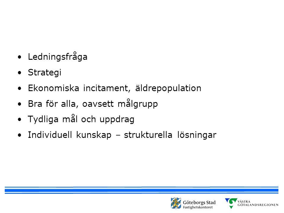 •Ledningsfråga •Strategi •Ekonomiska incitament, äldrepopulation •Bra för alla, oavsett målgrupp •Tydliga mål och uppdrag •Individuell kunskap – strukturella lösningar