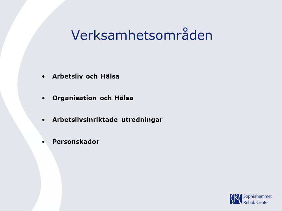 Verksamhetsområden •Arbetsliv och Hälsa •Organisation och Hälsa •Arbetslivsinriktade utredningar •Personskador