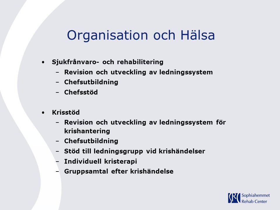 Organisation och Hälsa •Sjukfrånvaro- och rehabilitering –Revision och utveckling av ledningssystem –Chefsutbildning –Chefsstöd •Krisstöd –Revision oc
