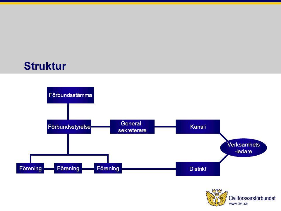 Struktur Förbundsstämma Förbundsstyrelse Förening Distrikt General- sekreterare Kansli Förening Verksamhets -ledare