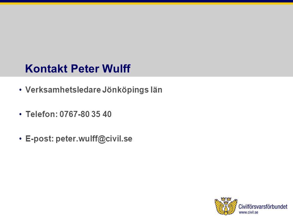 Kontakt Peter Wulff •Verksamhetsledare Jönköpings län •Telefon: 0767-80 35 40 •E-post: peter.wulff@civil.se