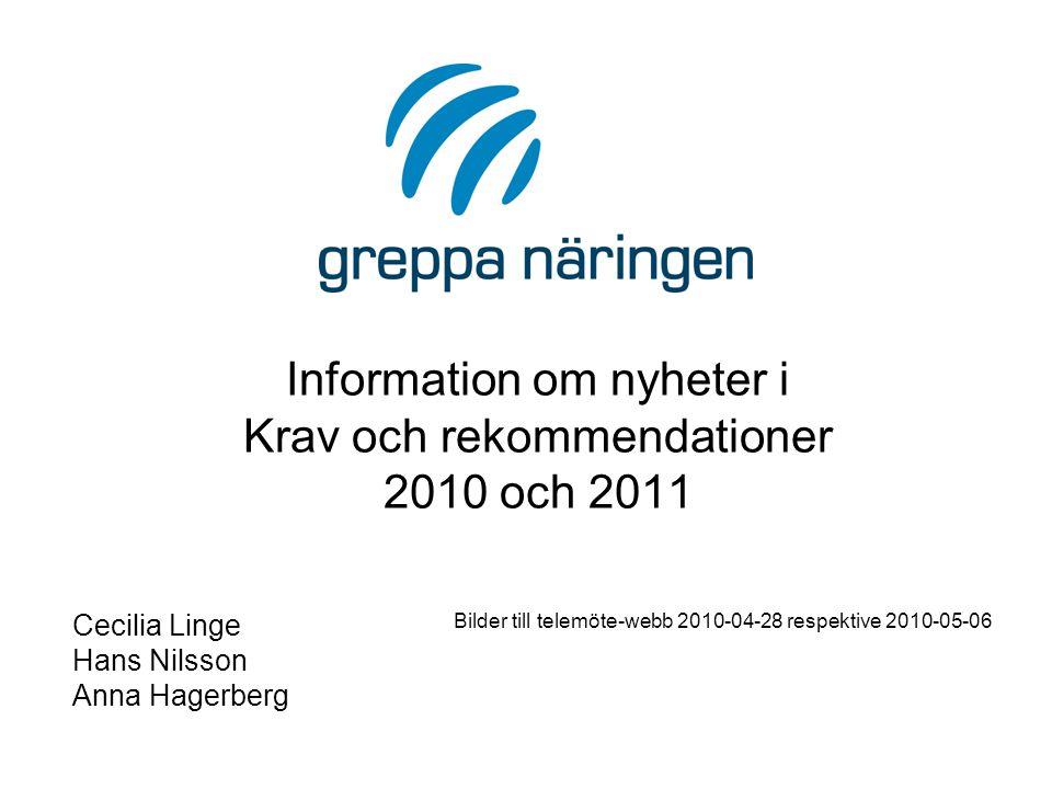 Information om nyheter i Krav och rekommendationer 2010 och 2011 Cecilia Linge Hans Nilsson Anna Hagerberg Bilder till telemöte-webb 2010-04-28 respektive 2010-05-06