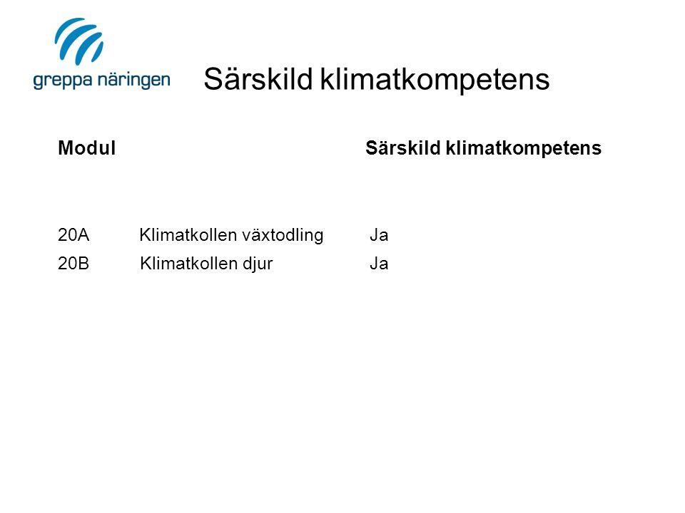 Modul Särskild klimatkompetens 20A Klimatkollen växtodling Ja 20B Klimatkollen djur Ja Särskild klimatkompetens