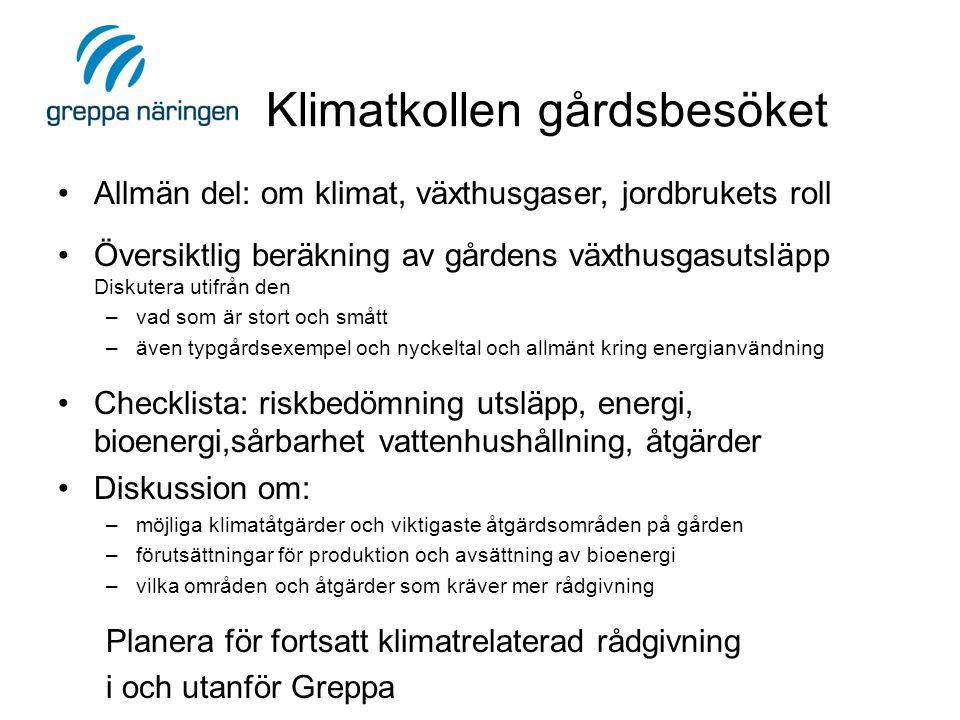 Klimatkollen gårdsbesöket •Allmän del: om klimat, växthusgaser, jordbrukets roll •Översiktlig beräkning av gårdens växthusgasutsläpp Diskutera utifrån den –vad som är stort och smått –även typgårdsexempel och nyckeltal och allmänt kring energianvändning •Checklista: riskbedömning utsläpp, energi, bioenergi,sårbarhet vattenhushållning, åtgärder •Diskussion om: –möjliga klimatåtgärder och viktigaste åtgärdsområden på gården –förutsättningar för produktion och avsättning av bioenergi –vilka områden och åtgärder som kräver mer rådgivning Planera för fortsatt klimatrelaterad rådgivning i och utanför Greppa