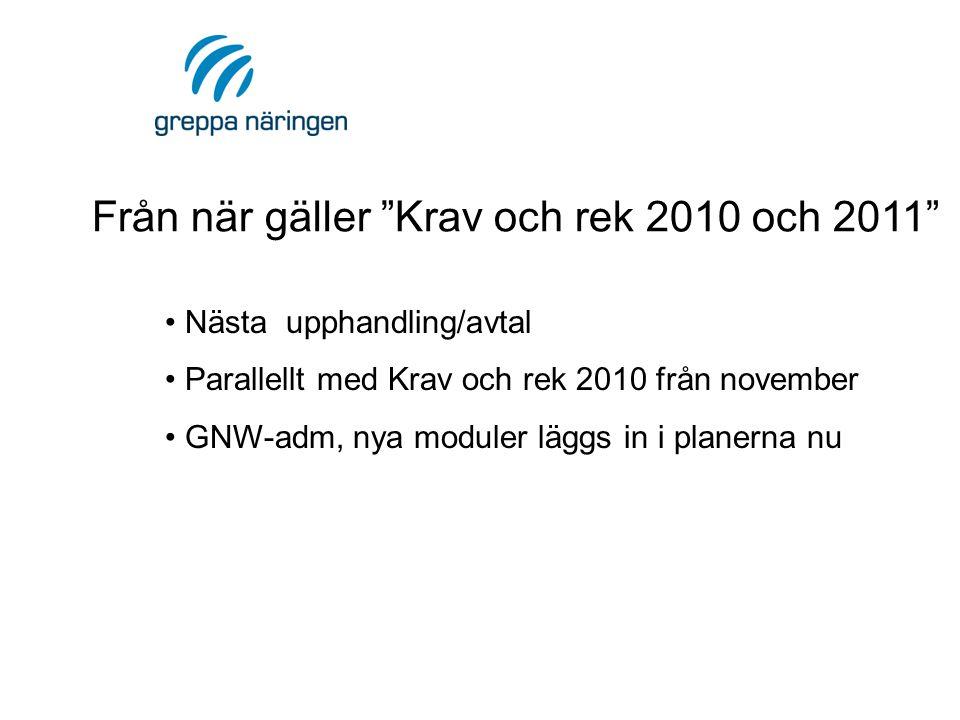 Från när gäller Krav och rek 2010 och 2011 • Nästa upphandling/avtal • Parallellt med Krav och rek 2010 från november • GNW-adm, nya moduler läggs in i planerna nu