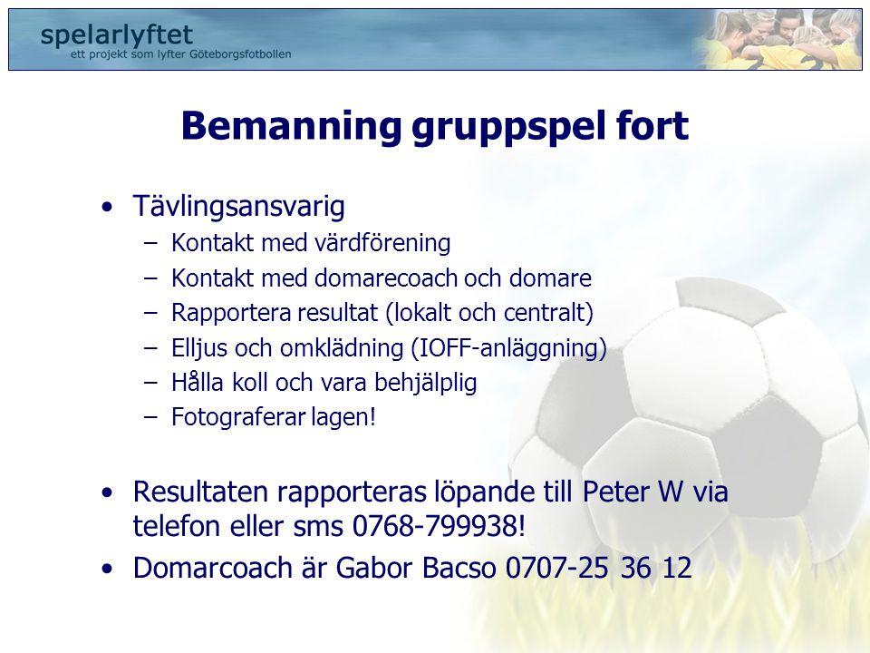 Bemanning gruppspel fort •Tävlingsansvarig –Kontakt med värdförening –Kontakt med domarecoach och domare –Rapportera resultat (lokalt och centralt) –E