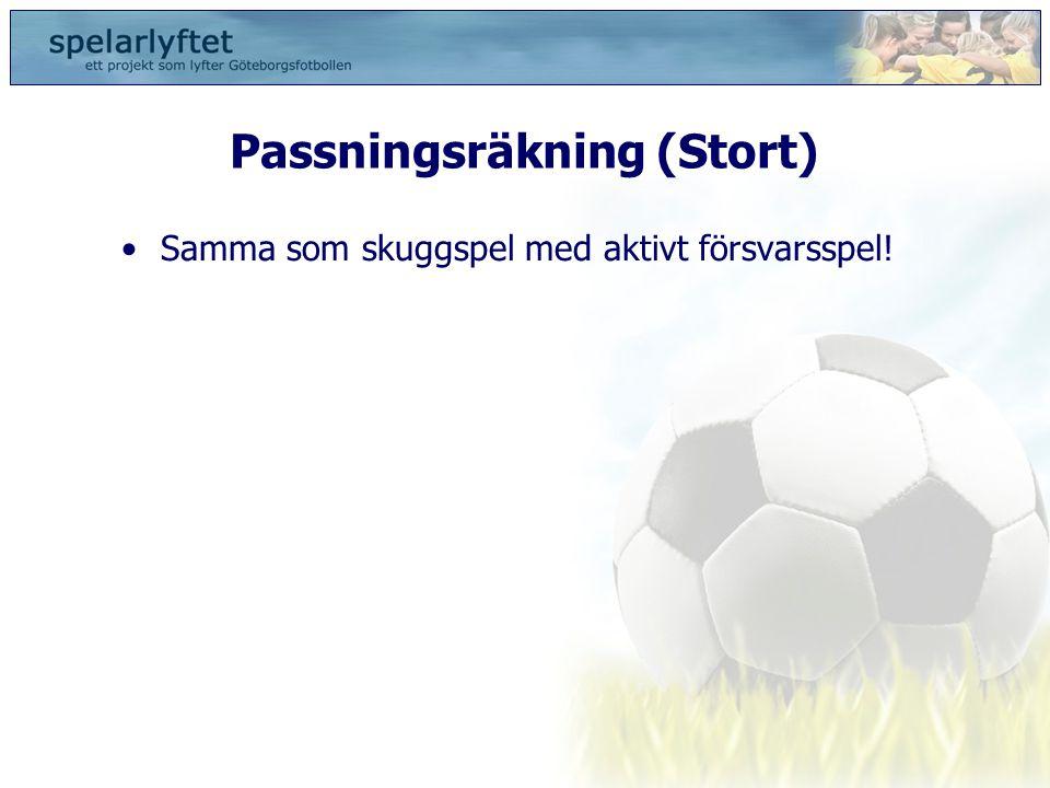 Passningsräkning (Stort) •Samma som skuggspel med aktivt försvarsspel!