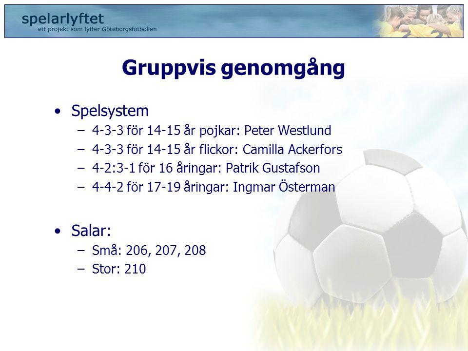 Gruppvis genomgång •Spelsystem –4-3-3 för 14-15 år pojkar: Peter Westlund –4-3-3 för 14-15 år flickor: Camilla Ackerfors –4-2:3-1 för 16 åringar: Patr