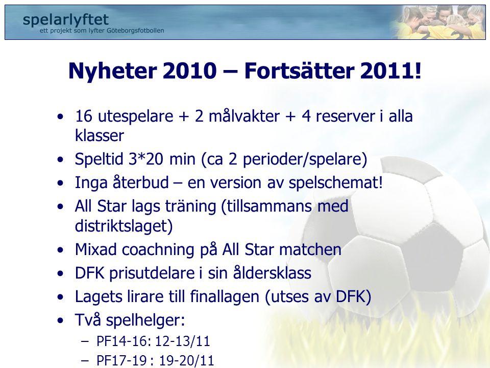 Nyheter 2010 – Fortsätter 2011! •16 utespelare + 2 målvakter + 4 reserver i alla klasser •Speltid 3*20 min (ca 2 perioder/spelare) •Inga återbud – en