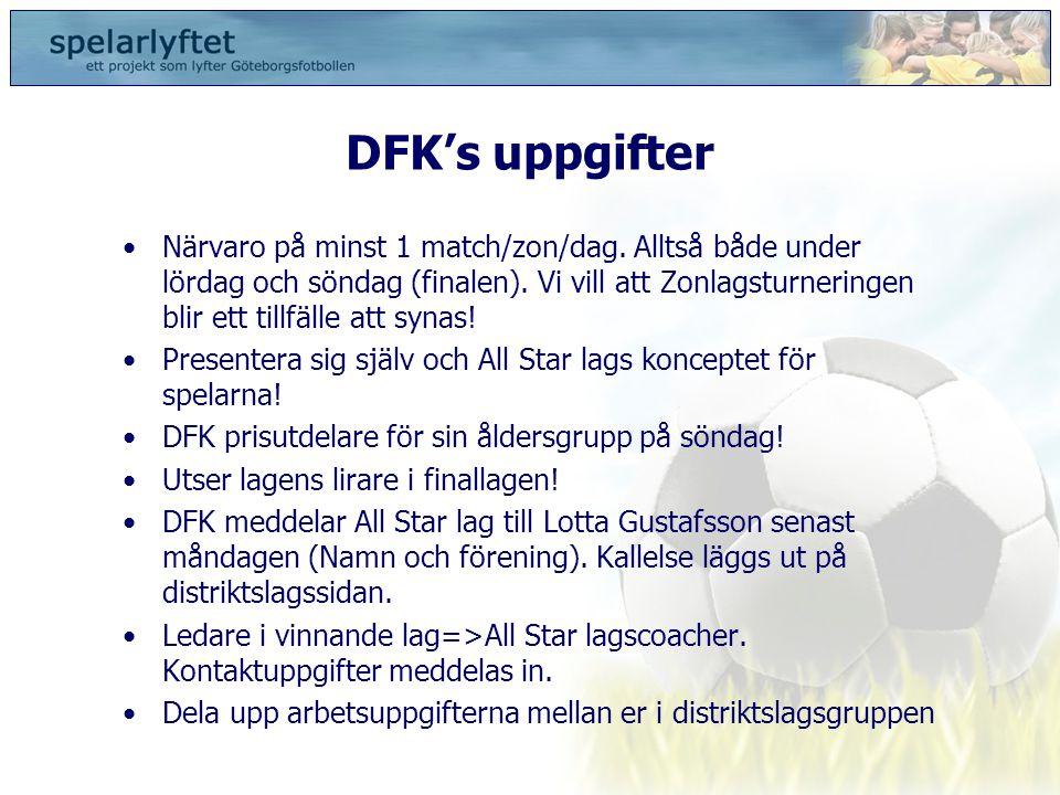 DFK's uppgifter •Närvaro på minst 1 match/zon/dag. Alltså både under lördag och söndag (finalen). Vi vill att Zonlagsturneringen blir ett tillfälle at